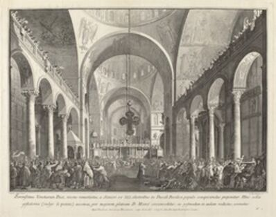 Giovanni Battista Brustolon after Canaletto, 'The Newly Elected Doge Presented to the People in San Marco', 1763/1766