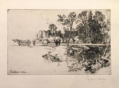 Francis Seymour Haden, 'Cowdray Castle (with Geese)', 1882