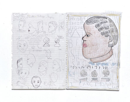 Rose Wylie, 'African Heads', 2016