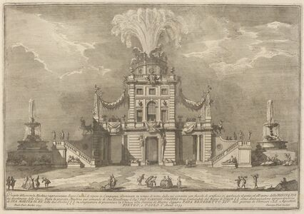 """Giuseppe Vasi after Paolo Posi (architect), 'A Royal Hunt Casino in the Countryside, for the """"Chinea"""" Festival', 1755"""