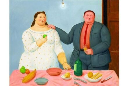 Fernando Botero, 'Couple with Still Life', 2013