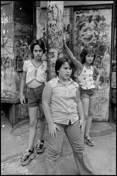 Susan Meiselas, 'JoJo,-Carol-and-Lisa-on-the-corner-of-Prince-and-Mott-streets,-Little-Italy-NYC', 1978