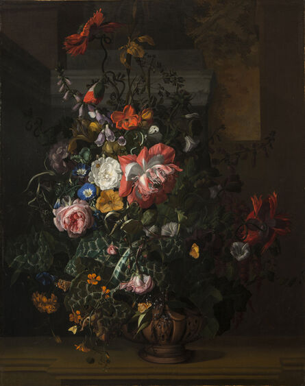 Rachel Ruysch, 'Roses, Convolvulus, Poppies, and Other Flowers in an Urn on a Stone Ledge', ca. 1680s