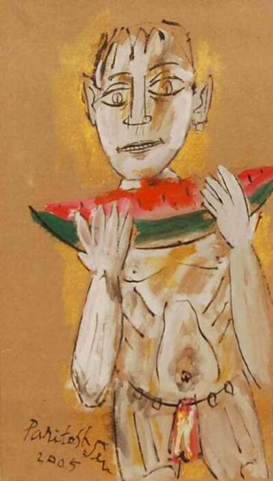 "Paritosh Sen, 'Boy Eating Watermelon, Acrylic on Board, Yellow, Orange, Red, Black Colours by Modern Artist ""In Stock""', 2005"