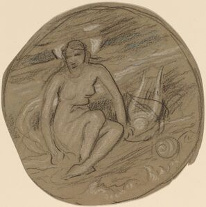 "Elihu Vedder, 'Study for the mural ""Music""', ca. 1890"