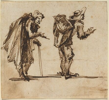 Giovanni Battista Piranesi, 'An Old Man with a Cape and a Rustic with a Backpack', 1750s
