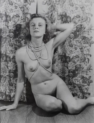Eugene Von Bruenchenhein, 'Untitled (Marie nude with pearls, arm behind head, looks to viewer)', ca. 1940