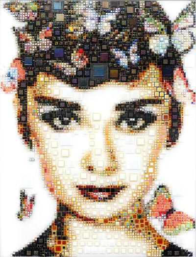 "Isabelle Scheltjens, '""Born in Brussels"" -- glass fusing, pointillism, dots, optical effects, pop art, pop culture, beauty, magical, aesthetic, model, celebrity', 2021"