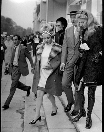 Ron Galella, 'Elizabeth Taylor, Marie-Helene, and Guy de Rothschild, Prix de l'Arc de Triomphe, Paris', 1968