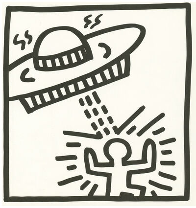 Keith Haring, 'Keith Haring (untitled) space lithograph 1982 (Keith Haring prints)', 1982
