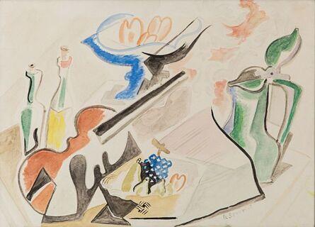 Gino Severini, 'Studio per natura morta con violino', 1946