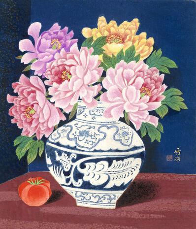 Kuo Hsueh-Hu 郭雪湖, 'Peonies in Full Bloom', 1998