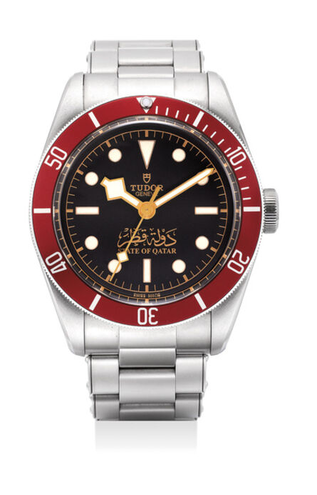 Tudor, 'A very rare stainless steel wristwatch with sweep center seconds and bracelet with gilt State of Qatar dial and guarantee and fitted presentation box', 2016