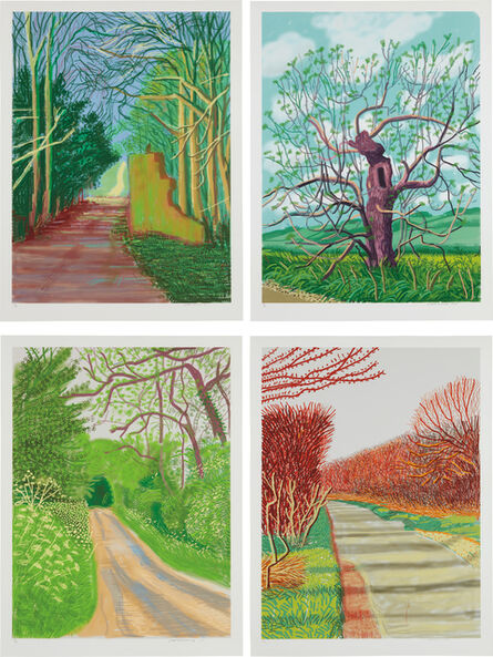 David Hockney, 'March 19; March 21; May 16; and May 18, from The Arrival of Spring in Woldgate, East Yorkshire in 2011 (twenty eleven)', 2011