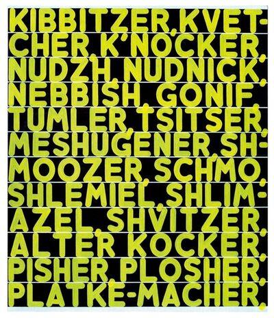 Mel Bochner, 'The Joys of Yiddish', 2014