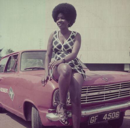 James Barnor, 'Woman posing on James Barnor's car, Accra, 1970s', 2018