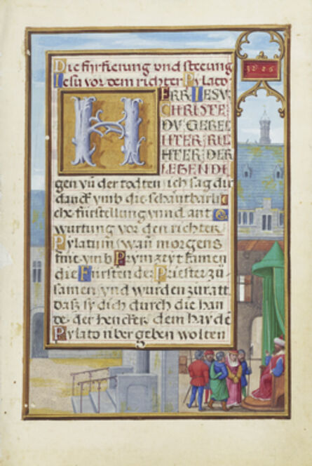 Simon Bening, 'Border with a Captured Prophet before a Prince or King', 1525-1530
