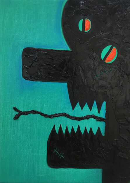 Alex Gene Morrison, 'Green Blue Chin And Eye Scar Orange', 2018