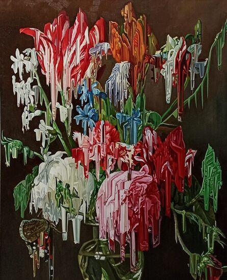 Alexis Mata, 'Jarrón de cristal, tulipanes y algunas rosas', 2021