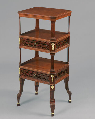 Joseph Gengenbach (Canabas), 'A beautiful and very rare early Louis XVI carved and pierced mahogany small table, with chased and giltbronze mounts'