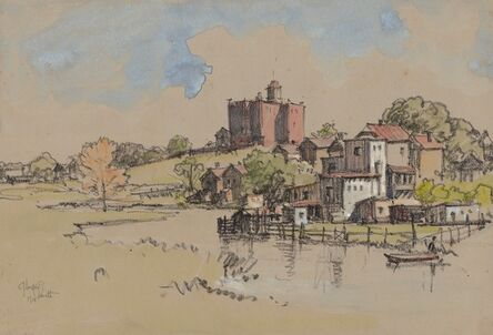 Jules Andre Smith, 'A View of a Pond and an Armoury Beyond (Nyack, NY?)', 1915