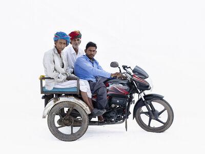 Martin Roemers, 'Hero Passion Pro; Radhesham Kir (driver), his father Rupaji Kire (left), his uncle Bhairuji Kir (Bhilwara, Rajasthan)', 2019