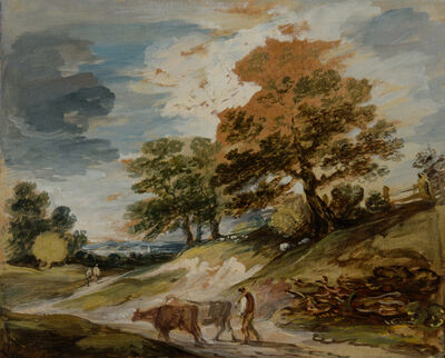 Gainsborough Dupont, 'A landscape with a herdsman and cows', ca. 1792
