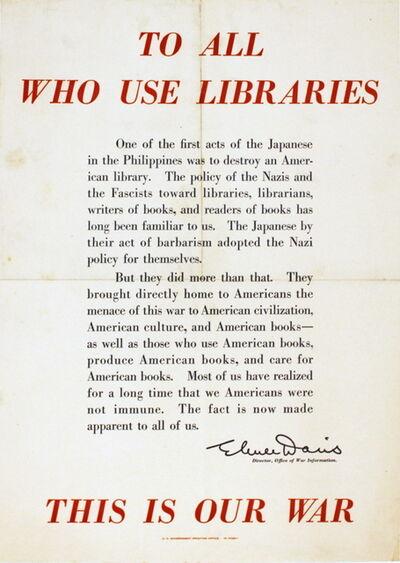 Elmer Davis, 'Elmer Davis Librarian Quote', (Date unknown)