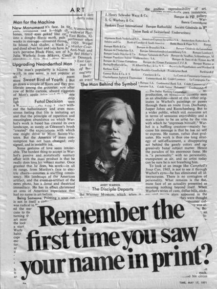 Felipe Ehrenberg, 'Your name in print', 1971