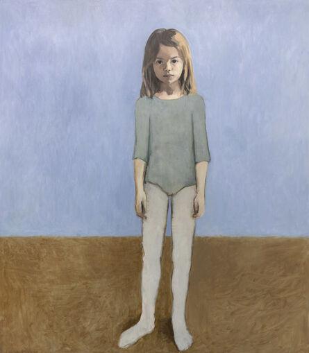 Claerwen James, 'Girl in a Leotard Against Pale Blue', 2018