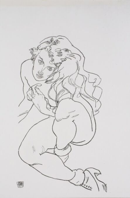 Egon Schiele, 'Sitting Nude with Raised Knee [Handzeichnungen]', 1920