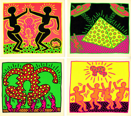 Keith Haring, 'Keith Haring Fertility: complete set of 5 gallery announcements', 1983