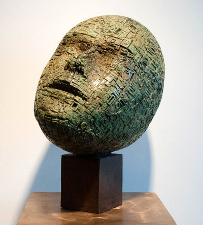 Dale Dunning, 'Typecast 2/7 - rustic, gothic, figurative, head, patinated bronze sculpture', 2011