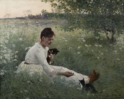 Elin Danielson-Gambogi, 'Girl with Kittens in a Summer Landscape', 1892