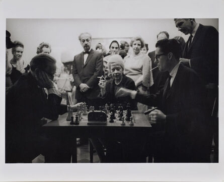 Julian Wasser, 'Duchamp and Walter Hopps Playing Chess at Opening Reception, Duchamp Retrospective, Pasadena Art Museum', 1963