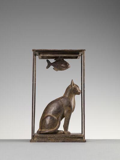 Nicola Lazzari, 'Seated cat and fish', 2018
