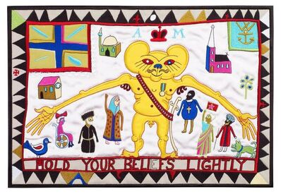Grayson Perry, 'Hold Your Beliefs Lightly (tapestry) Embroidery (2011) (signed)', 2011
