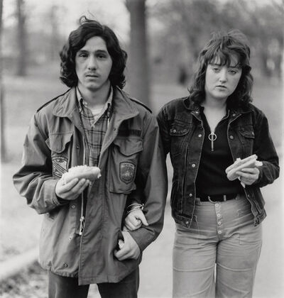 Diane Arbus, 'A young man and his girlfriend with hot dogs in the park, NYC', 1971