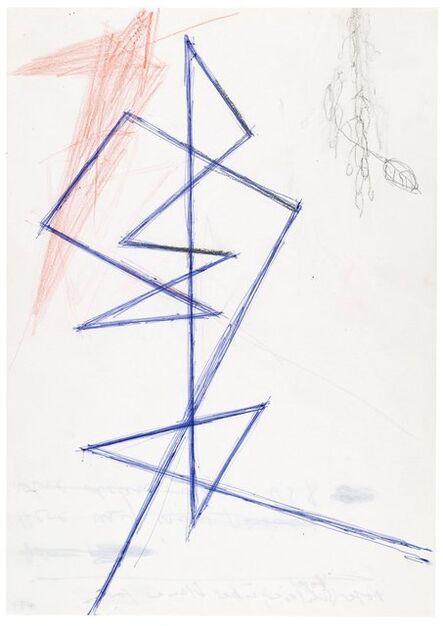 Helmut Federle, 'Roter Vogel (Schleier) über blauer Form', 1984