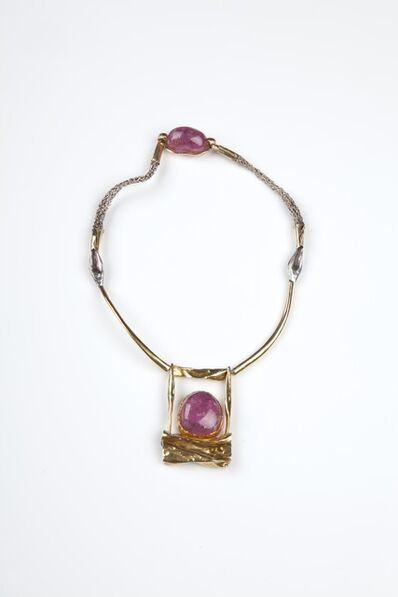 Miye Matsukata, '18ct gold and tourmaline necklace with a woven silver chain', 1970s