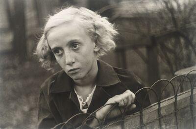 Walker Evans, '[Girl Leaning on Wire Fence in Yard, Vicinity Bethlehem, Pennsylvania]', 1935