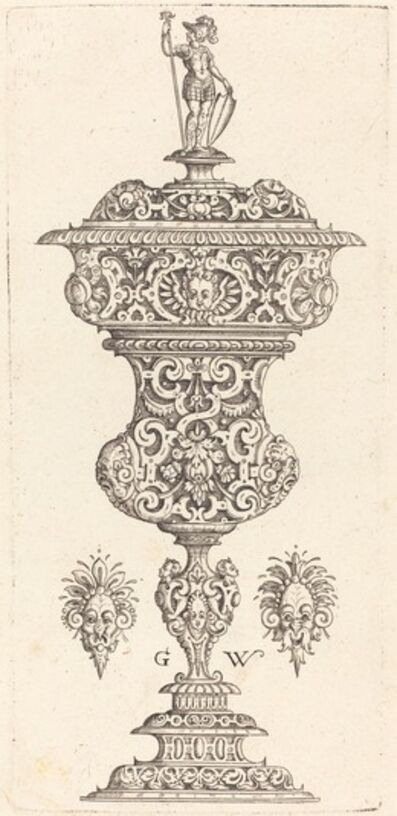 Georg Wechter I, 'Goblet with lid surmounted by a Roman soldier', published 1579
