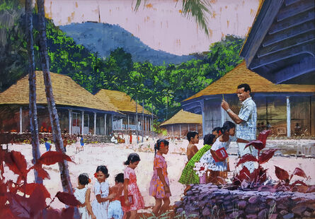 Howard Terpning, 'Hawaiian School. Teacher and children,  Original Illustration Art for General Electric Calendar,', 1966