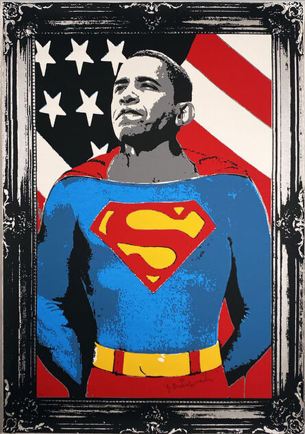 Mr. Brainwash, ''Obama Superman' (silver)', 2008