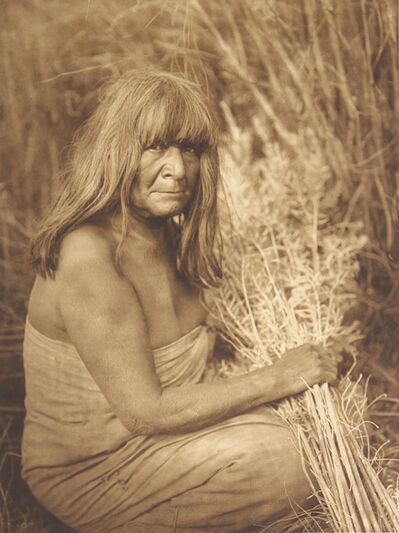 Edward S. Curtis, 'Hipah With Arrow - Brush - Maricopa', 1907-1930