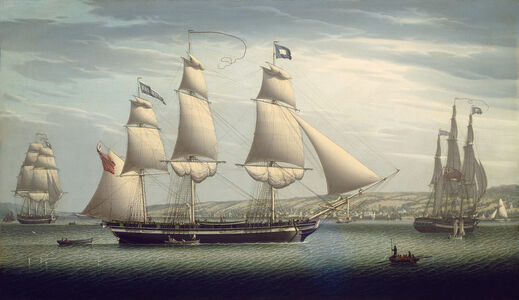 "Robert Salmon, 'The Ship ""Favorite"" Maneuvering Off Greenock', 1819"