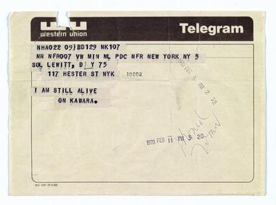 On Kawara, 'Telegram to Sol LeWitt', February 5-1970