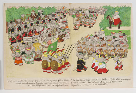 """Jean de Brunhoff, '""""The weather is perfect for the day of the celebration,"""" published illustration for Babar the King', 1936"""