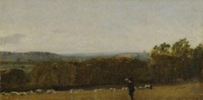 John Constable, 'A Shepherd in a Landscape looking across Dedham Vale towards Langham', ca. 1811