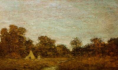 Ralph Albert Blakelock, 'Encampment at Sunset with Lone Figure', Late 19th century